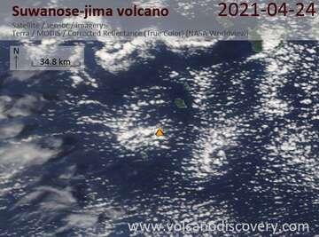 Satellite image of Suwanose-jima volcano on 24 Apr 2021