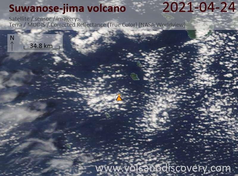 Satellite image of Suwanose-jima volcano on 25 Apr 2021