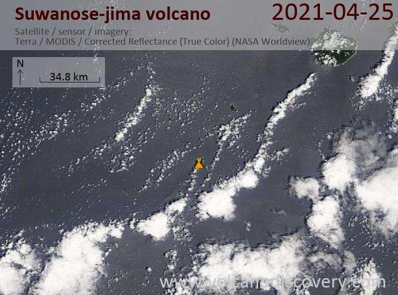 Satellite image of Suwanose-jima volcano on 26 Apr 2021