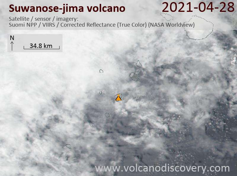 Спутниковое изображение вулкана Suwanose-jima 29 Apr 2021