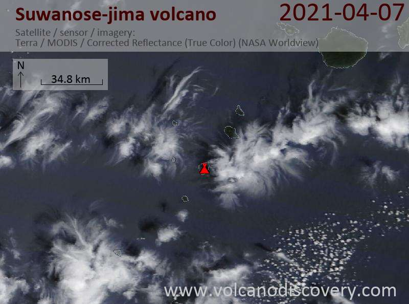 Satellite image of Suwanose-jima volcano on  7 Apr 2021
