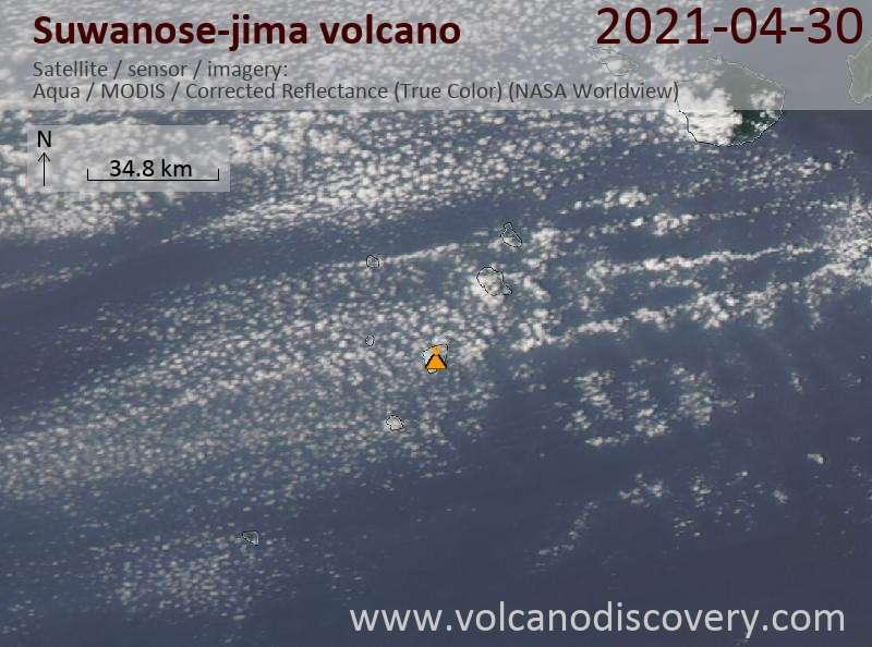 Спутниковое изображение вулкана Suwanose-jima  1 May 2021