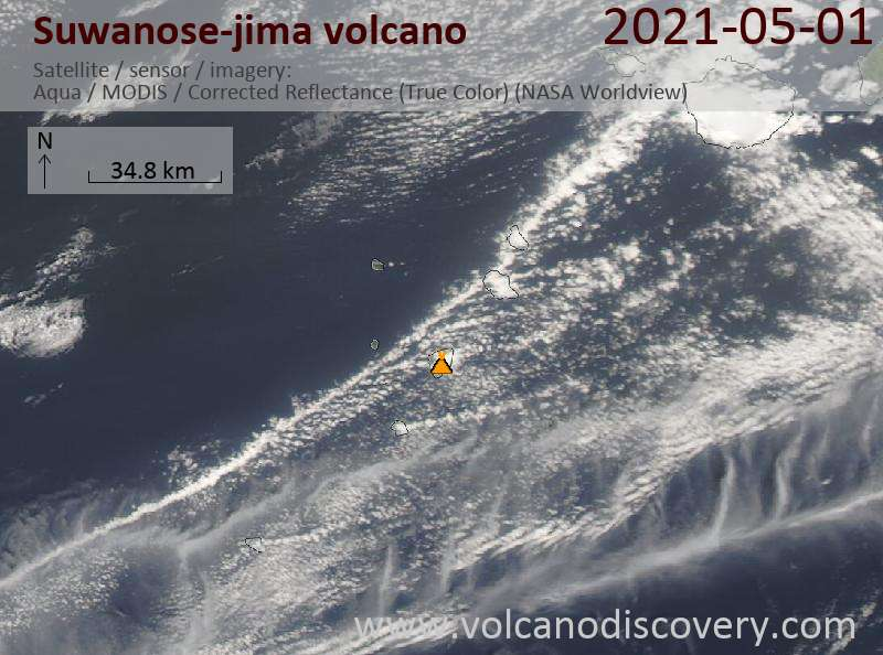 Satellite image of Suwanose-jima volcano on  2 May 2021