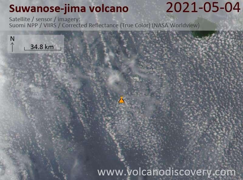 Satellite image of Suwanose-jima volcano on  5 May 2021