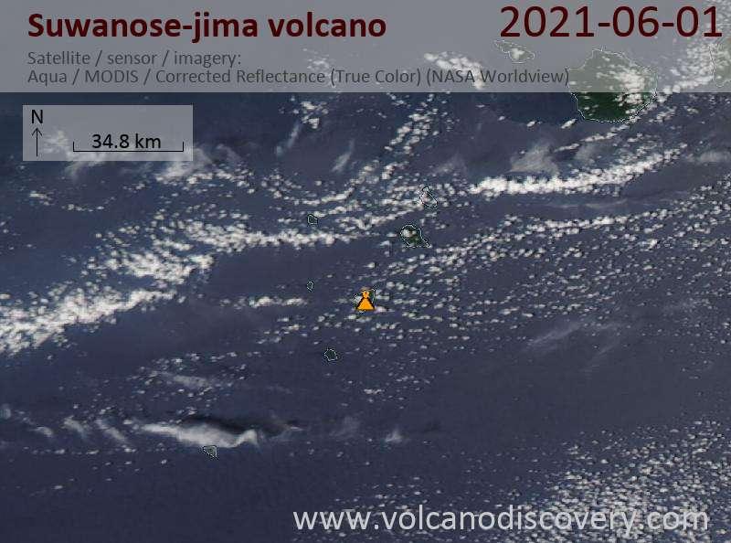 Satellite image of Suwanose-jima volcano on  1 Jun 2021
