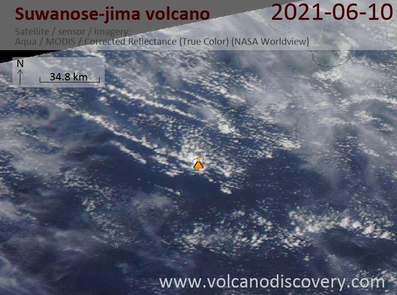 Спутниковое изображение вулкана Suwanose-jima 11 Jun 2021