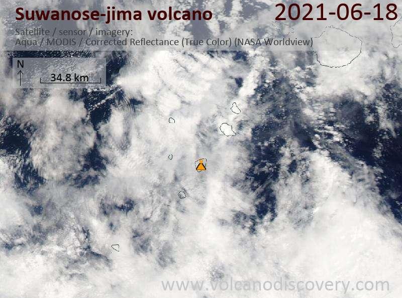 Satellite image of Suwanose-jima volcano on 19 Jun 2021