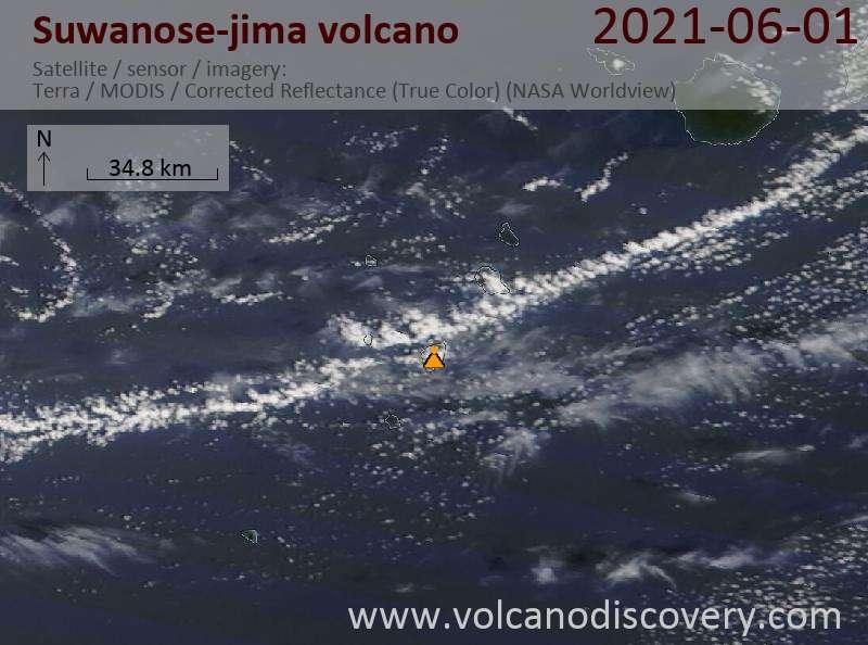 Satellite image of Suwanose-jima volcano on  2 Jun 2021