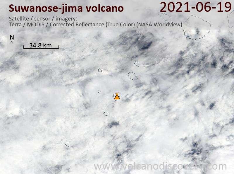 Satellitenbild des Suwanose-jima Vulkans am 20 Jun 2021
