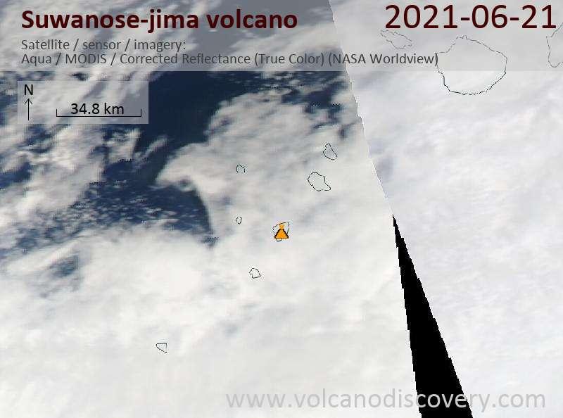 Satellitenbild des Suwanose-jima Vulkans am 22 Jun 2021