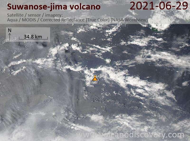 Satellite image of Suwanose-jima volcano on 29 Jun 2021