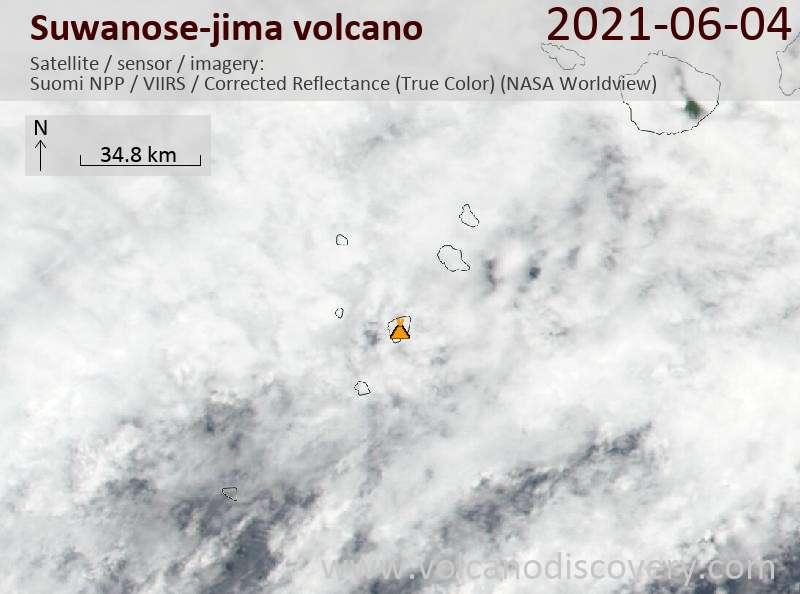 Satellite image of Suwanose-jima volcano on  4 Jun 2021