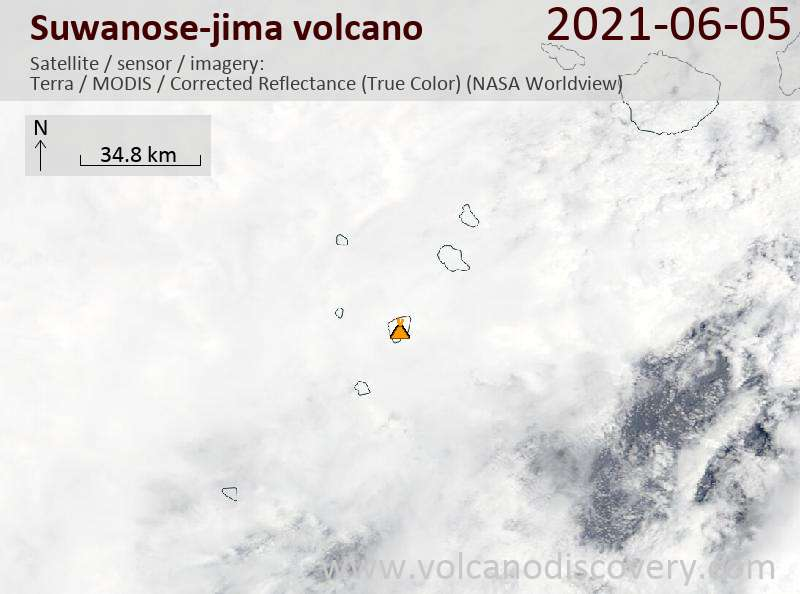 Satellite image of Suwanose-jima volcano on  6 Jun 2021