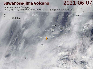 Satellite image of Suwanose-jima volcano on  7 Jun 2021