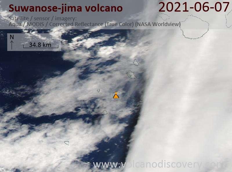 Спутниковое изображение вулкана Suwanose-jima  8 Jun 2021