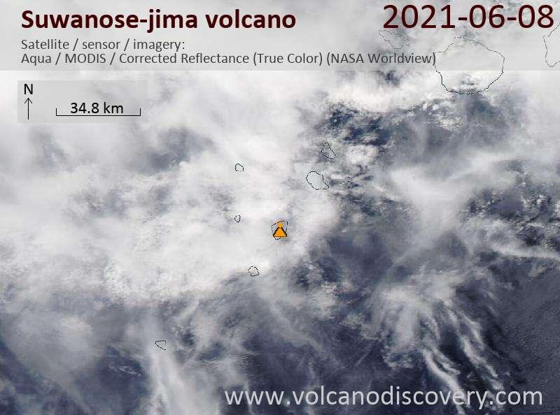 Спутниковое изображение вулкана Suwanose-jima  9 Jun 2021