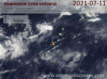 Satellite image of Suwanose-jima volcano on 11 Jul 2021