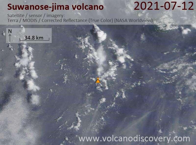 Satellite image of Suwanose-jima volcano on 12 Jul 2021