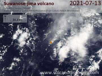 Satellite image of Suwanose-jima volcano on 13 Jul 2021