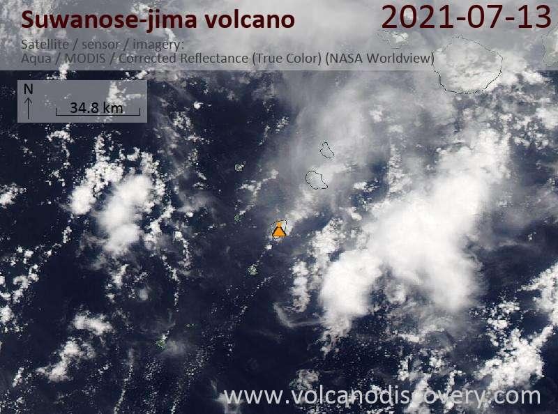 Satellite image of Suwanose-jima volcano on 14 Jul 2021