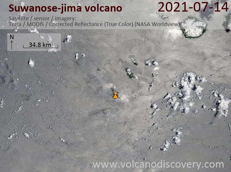Satellite image of Suwanose-jima volcano on 15 Jul 2021