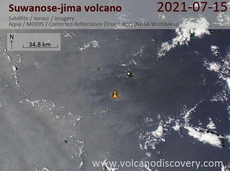 Satellite image of Suwanose-jima volcano on 16 Jul 2021