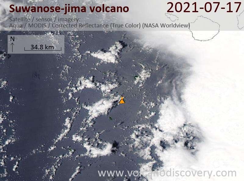 Satellite image of Suwanose-jima volcano on 18 Jul 2021