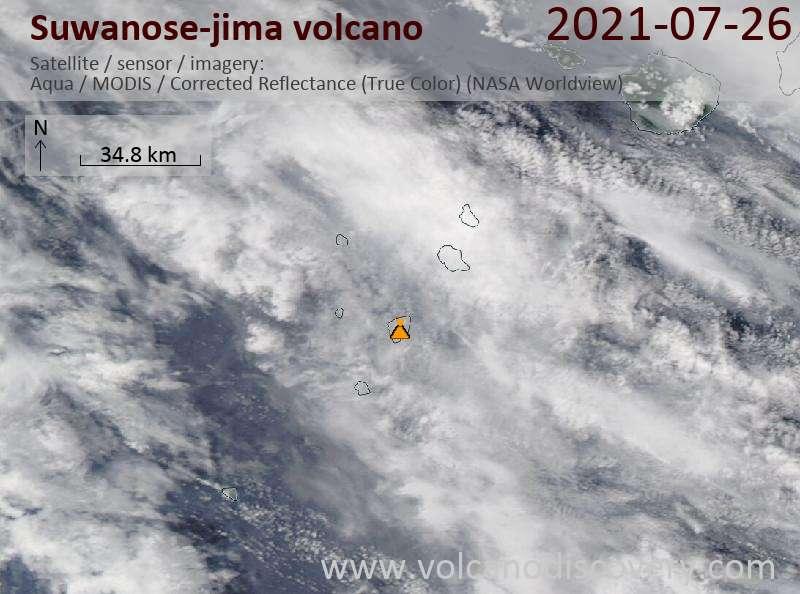Спутниковое изображение вулкана Suwanose-jima 26 Jul 2021