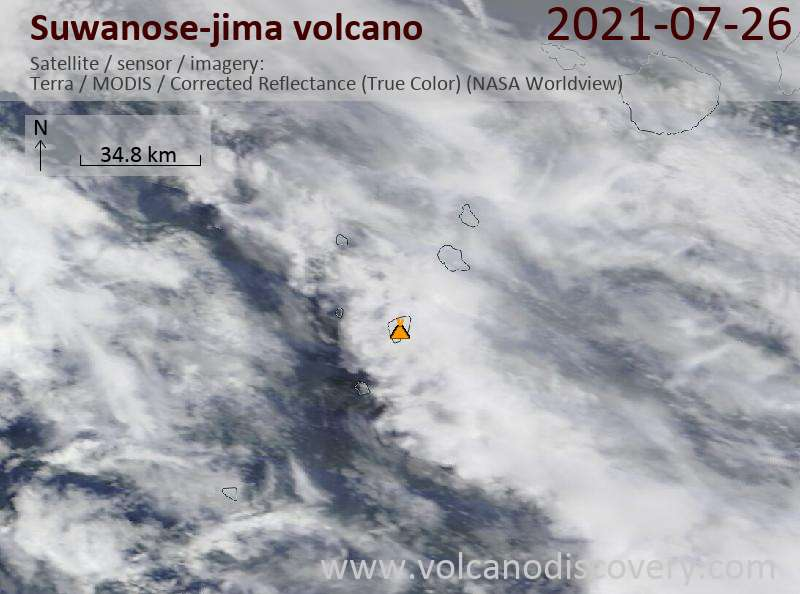 Спутниковое изображение вулкана Suwanose-jima 27 Jul 2021