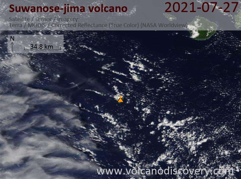 Спутниковое изображение вулкана Suwanose-jima 29 Jul 2021
