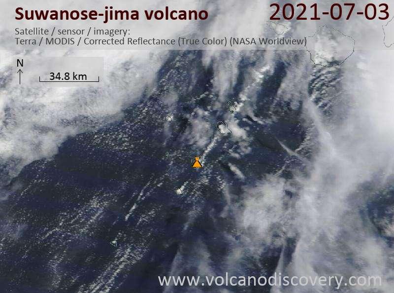 Satellitenbild des Suwanose-jima Vulkans am  3 Jul 2021