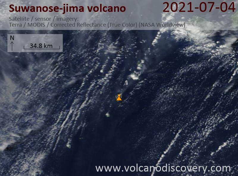 Satellite image of Suwanose-jima volcano on  5 Jul 2021