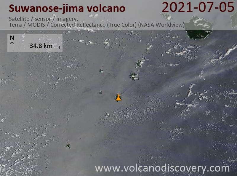 Satellite image of Suwanose-jima volcano on  6 Jul 2021