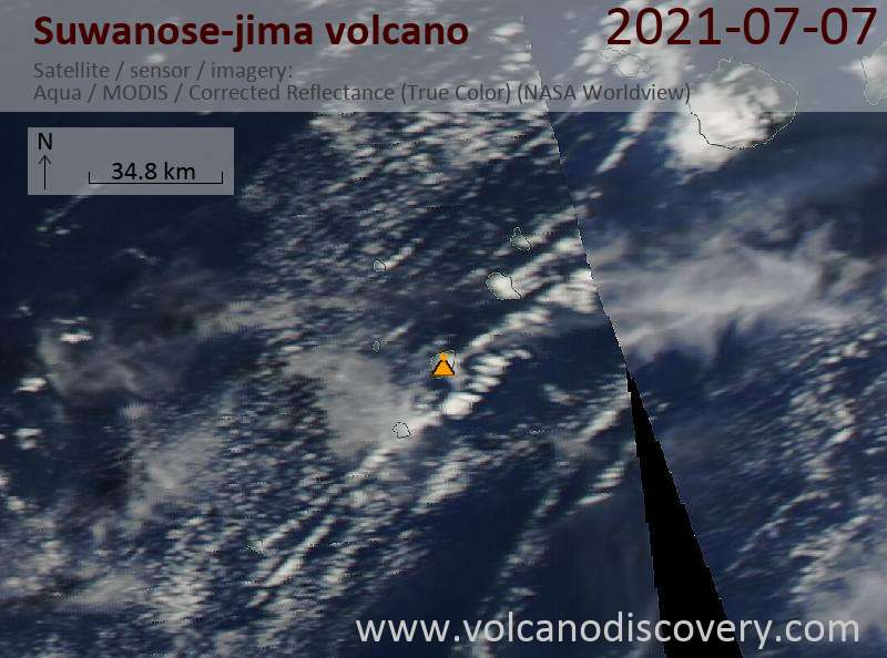 Satellite image of Suwanose-jima volcano on  8 Jul 2021