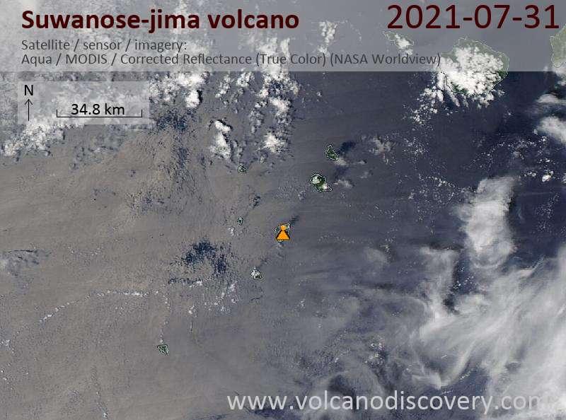 Спутниковое изображение вулкана Suwanose-jima  1 Aug 2021
