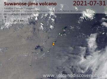 Satellite image of Suwanose-jima volcano on  1 Aug 2021