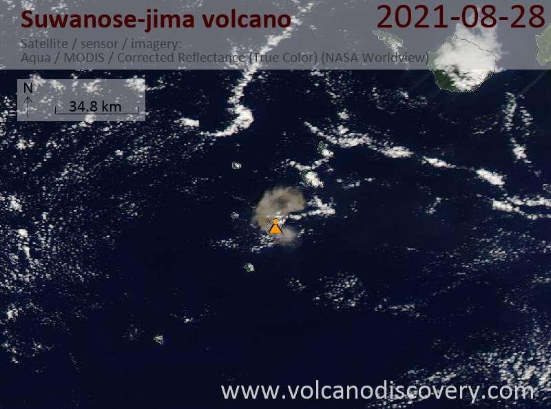 Satellite image of Suwanose-jima volcano on 29 Aug 2021