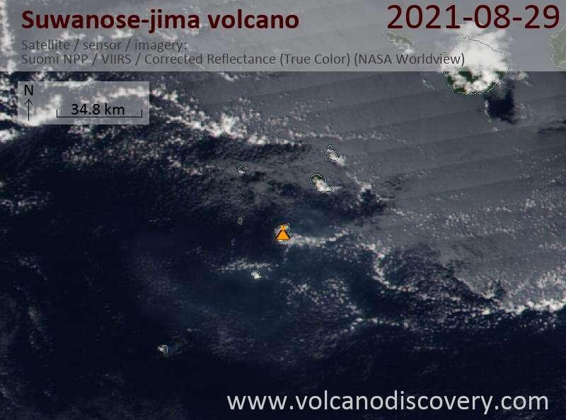 Satellite image of Suwanose-jima volcano on 30 Aug 2021