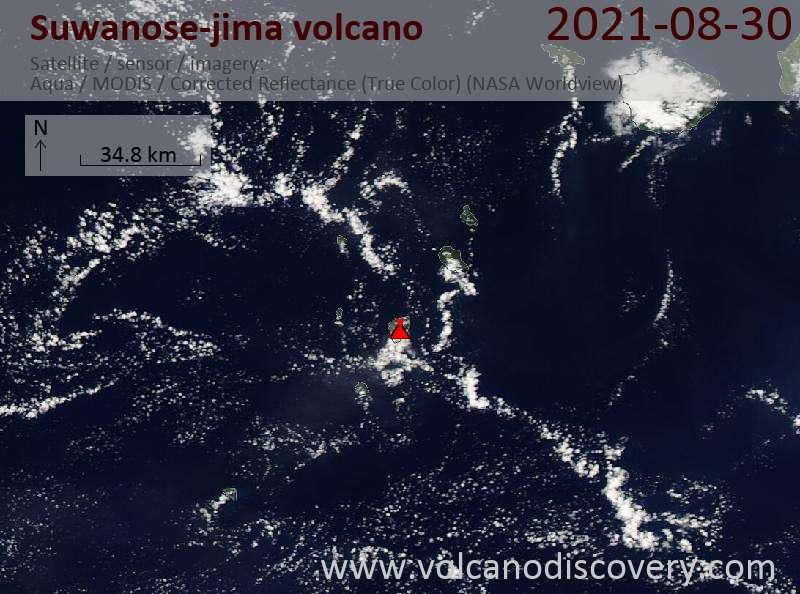 Satellite image of Suwanose-jima volcano on 31 Aug 2021