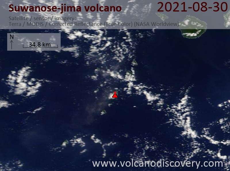 Satellite image of Suwanose-jima volcano on  1 Sep 2021