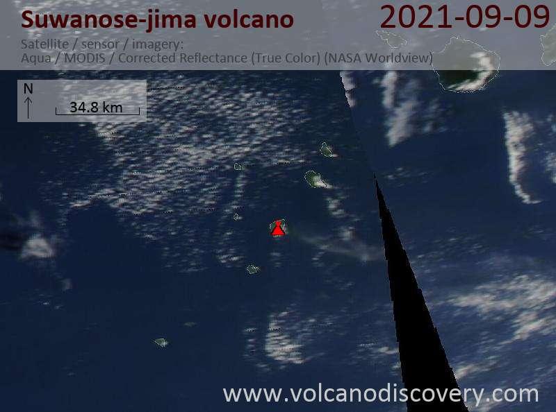 Satellite image of Suwanose-jima volcano on 10 Sep 2021