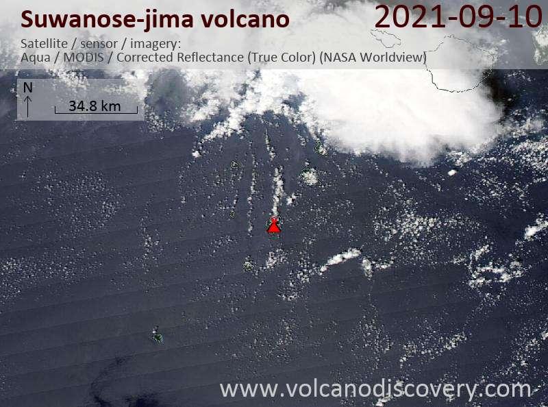 Satellite image of Suwanose-jima volcano on 11 Sep 2021