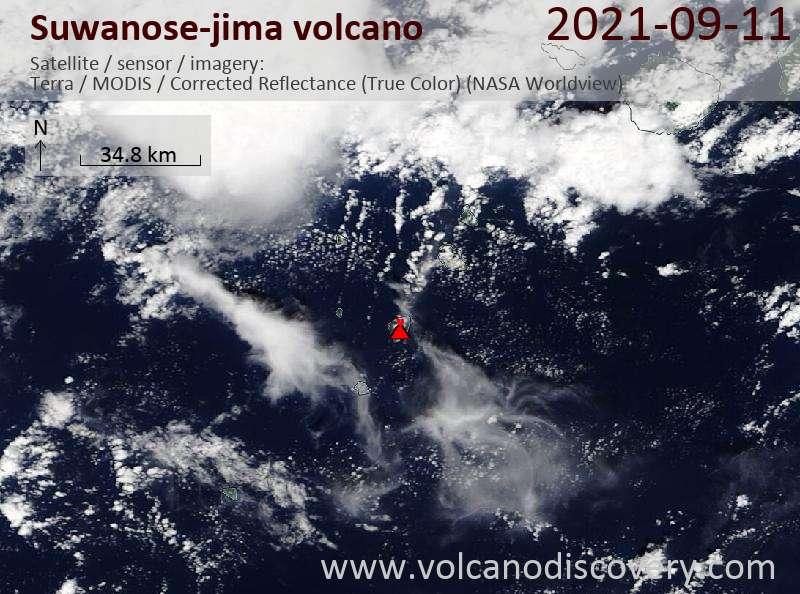 Satellite image of Suwanose-jima volcano on 12 Sep 2021