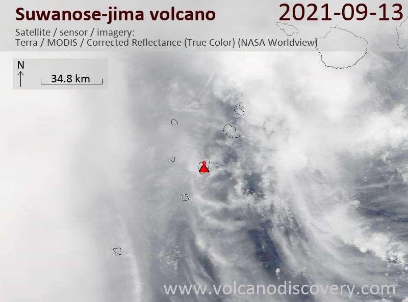 Satellite image of Suwanose-jima volcano on 13 Sep 2021