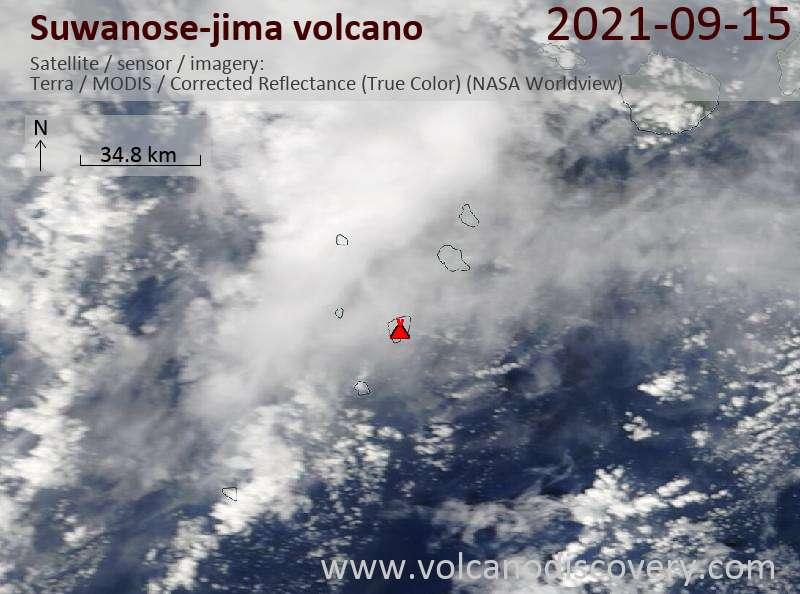 Satellite image of Suwanose-jima volcano on 15 Sep 2021