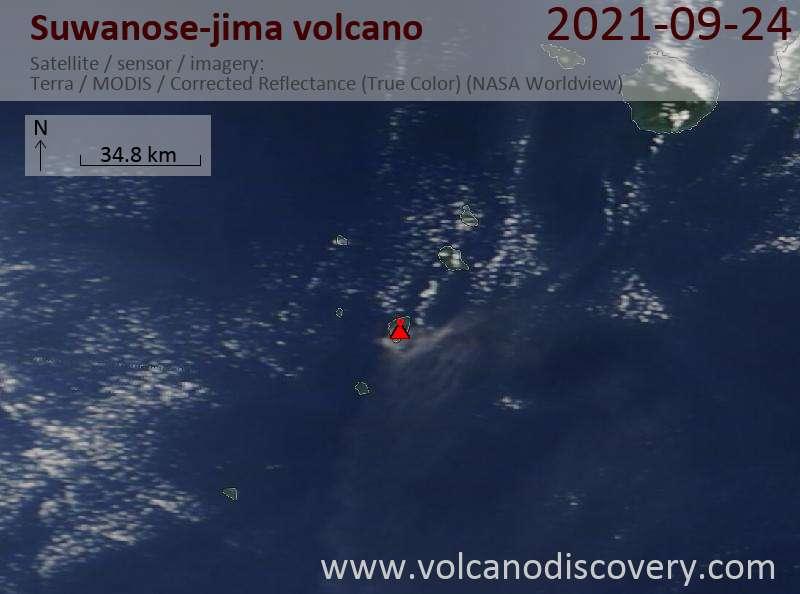 Satellite image of Suwanose-jima volcano on 24 Sep 2021