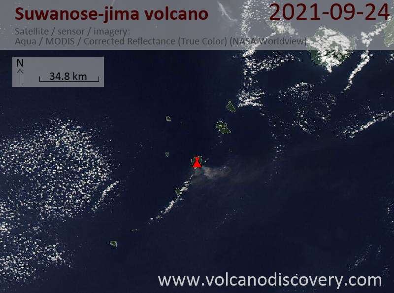 Satellite image of Suwanose-jima volcano on 25 Sep 2021