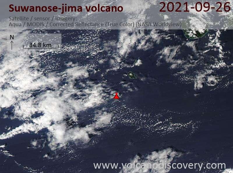 Спутниковое изображение вулкана Suwanose-jima 27 Sep 2021