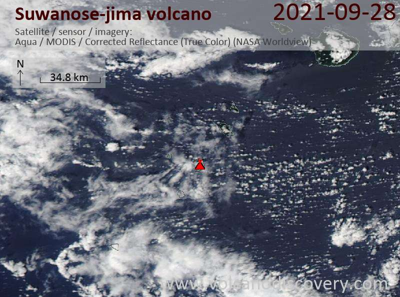 Satellite image of Suwanose-jima volcano on 29 Sep 2021