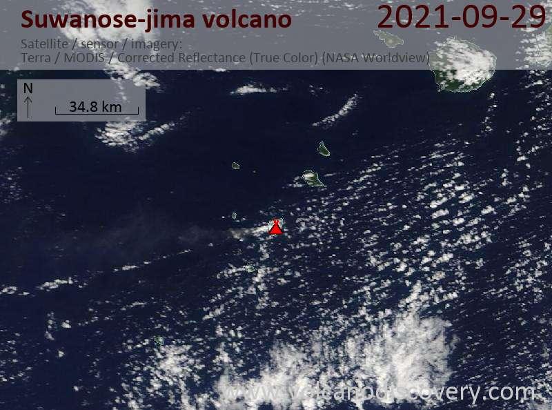 Satellite image of Suwanose-jima volcano on 30 Sep 2021